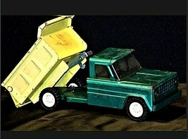 Vintage 1960s Structo Kom Pak Dump Truck Green and Yellow AA19-1431 image 2