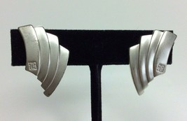 Vintage Givenchy Logo Stamped Modern Clip On Earrings Shiny Silver Tone - $38.69