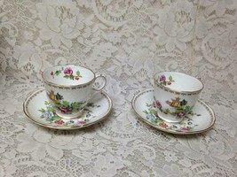 Vintage, Crown Staffordshire, Polychrome, Gaudy Blue Willow 4pc Cups and Saucers - $75.95