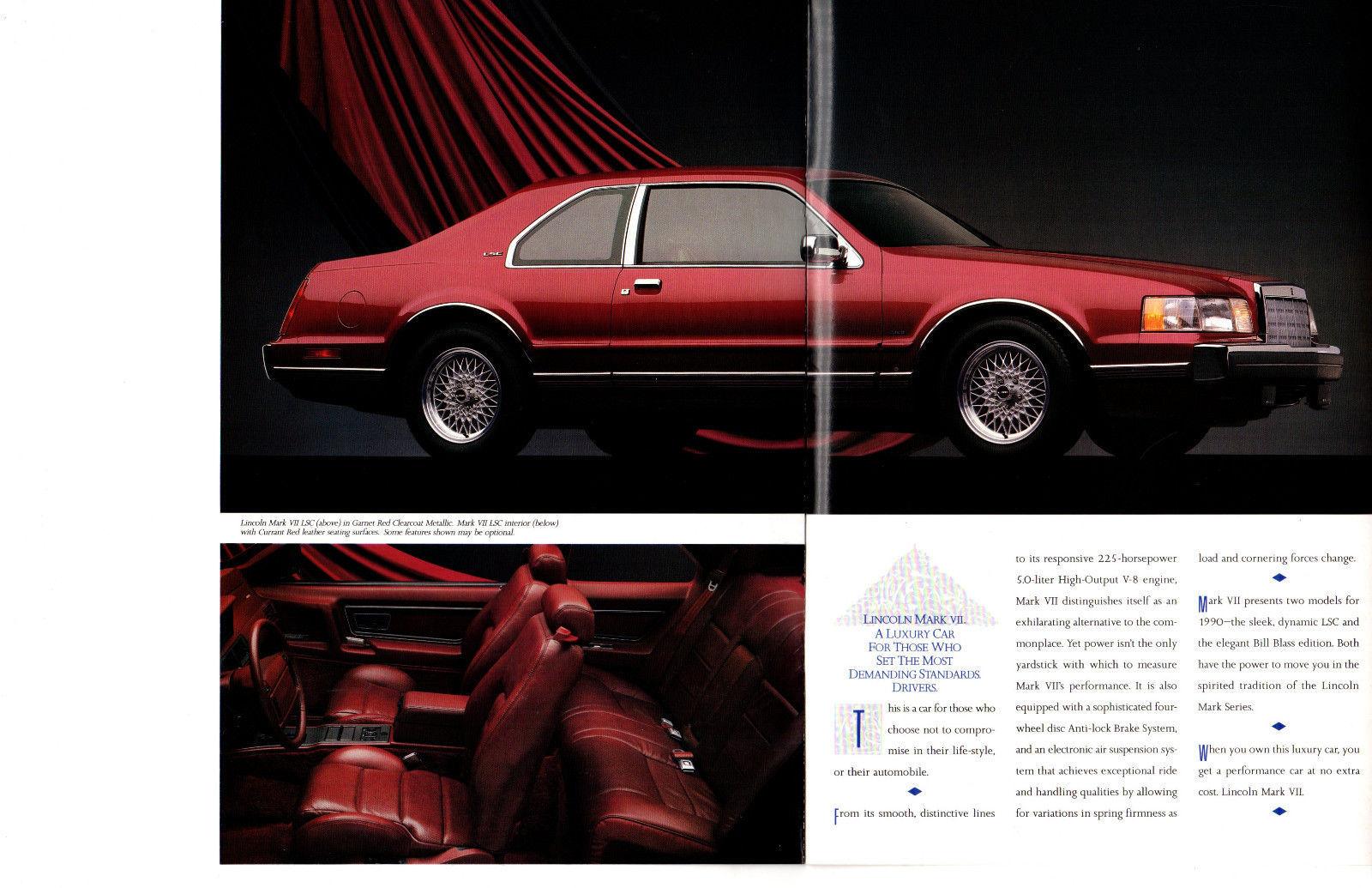 1990 Lincoln Mark VII Bill Blass /& LSC Deluxe Dealer Sales Brochure