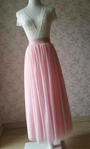 Floor Length Pink Tulle Skirt Pink Bridesmaid Tulle Skirt Plus Size image 4
