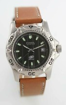 Fossil Watch Men Stainless Silver Brown Leather Date 100m Water Res Gray... - $34.65
