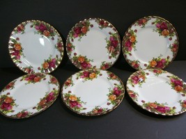 "Set of 6 Royal Albert Old Country Roses 6 1/4"" Bread & Butter Plates 1962 - $48.51"