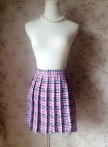 PINK Plaid Skirt Pleated Women Girls Mini Plaid Skirts Plus Size Pink Skirt NWT