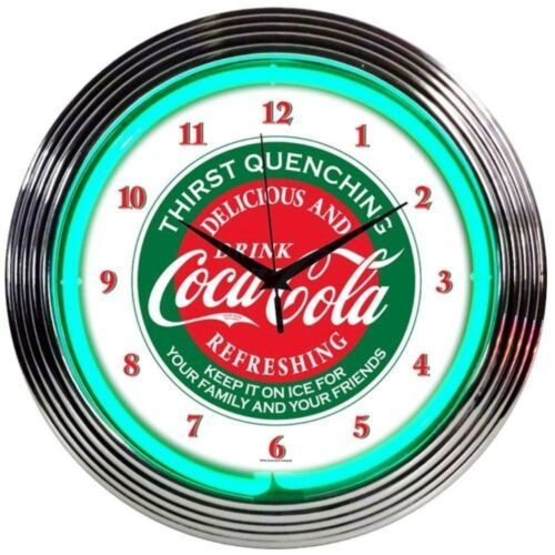 "Primary image for Coca-Cola Evergreen Licensed Neon Clock 15""x15"""
