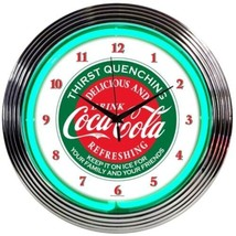 "Coca-Cola Evergreen Licensed Neon Clock 15""x15"" - $69.00"