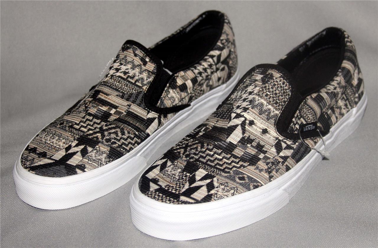 6b7d36f600 VANS ITALIAN WEAVE Geo Pattern Black Khaki Tan Etc Slip-on Shoes UNISEX new