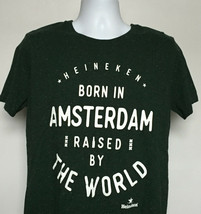 Heineken beer Born in Amsterdam Raised by the World T Shirt Mens Medium - $22.72