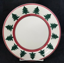 "Pier 1 Christmas Tree Dinner Plates Set of 2 Made in Italy 9.75"" White R... - $24.18"