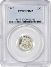 1942 10c PCGS PR 67 - Mercury Dime - $295.85