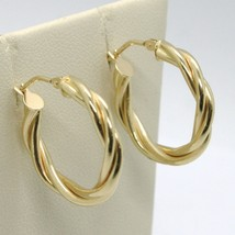 18K YELLOW GOLD CIRCLE HOOPS DOUBLE TUBE TWISTED EARRINGS 22 MM x 3.5 MM, ITALY image 1