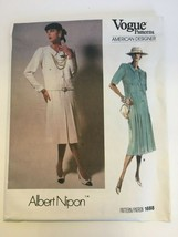 Vogue American Designer Albert Nipon Pleated Dress Sewing Pattern 1688 S... - $14.99