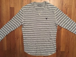 American Eagle Outfitters AE Gray Grey White Long Sleeve Thermal Shirt L... - $24.99