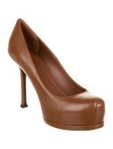 """Y-1301129 New Yves Saint Laurent Tribtoo Brown 4"""" Mid High Pumps Size 36... - $290.99"""