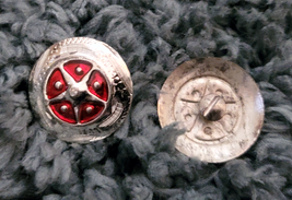"""Silver Star Concho Red enamel accent NEW by Action Company 1 1/2"""" Set of 4 image 2"""