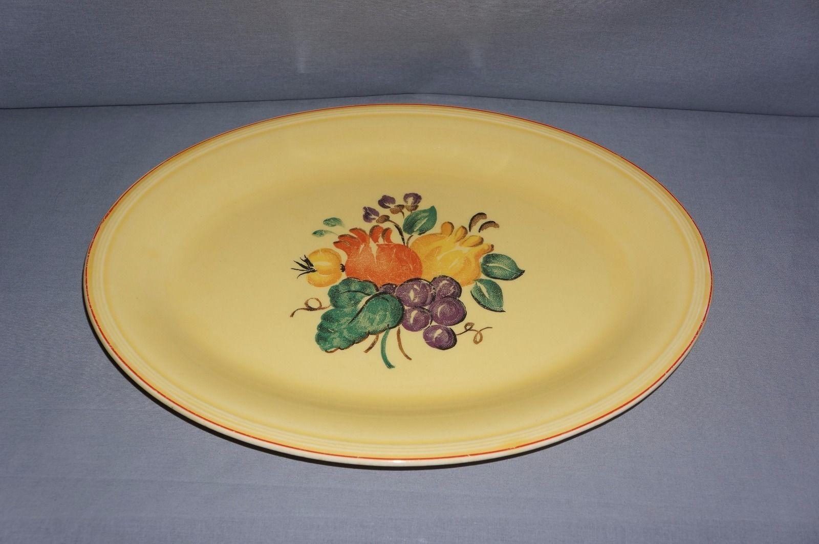 Semi Vitreous Yellow Floral Serving Platter 13.5  Edwin M. Knowles China Co. USA & Semi Vitreous Yellow Floral Serving Platter and 18 similar items