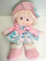 Vintage Dolly Mine Soft Plush Doll Blue Pink Yarn Hair Flower Dress Hat - $24.73