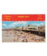 Greetings from Ocean City New Jersey Beach Boardwalk Vntg J Freeman Post... - $4.99