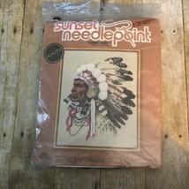 Vintage Indian Native American Chief Needlepoint Art #6720 New (Older Pkg) - $27.70