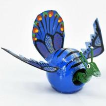 Handmade Oaxacan Wood Carving Folk Art Miniature Peacock Bobble Head Figurine