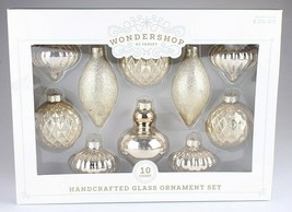 Wondershop 10 Piece Handcrafted Gold Glass Christmas Tree Ornaments Set NEW BOX image 2
