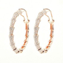 ZirconZ-Pave Signity CZ Rose Sterling Silver Cone Style Omega Hoop Earrings - $159.99
