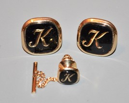 Vintage Swank Cufflink and tie tack set Monogrammed K - $14.25