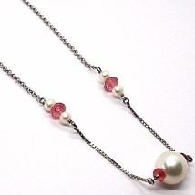 18K WHITE GOLD NECKLACE, WHITE PEARL, PINK TOURMALINE, ROLO & VENETIAN CHAIN image 2