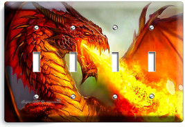 MYSTICAL FIRE BREATHING RED DRAGON 4 GANG LIGHT SWITCH WALL PLATES ROOM ... - $19.99
