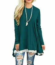 WEKILI Women's Tops Long Sleeve Lace Scoop Neck A-line Tunic Blouse - $38.32