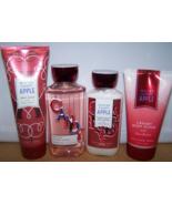 4 Pc Bath & Body Works Winter Candy Apple Set- Body Scrub, Gel, Lotion, ... - $23.75