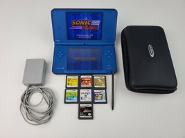 Nintendo DS XL Blue Bundle 8 Games Charger & Case Works Great Sonic Lego Pets - $121.54
