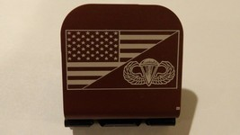 American Flag With Airborne Wings Badge Laser Etched Aluminum Hat Clip B... - $11.99