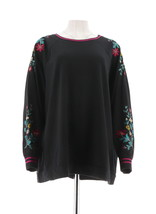 Susan Graver Embroidered French Terry Long Slv Top Black Pink M NEW A300519 - $37.60