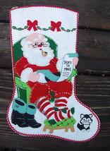 Handmade FINISHED Bucilla  He's Making A List  -  Christmas Felt Applique Holida - $149.97