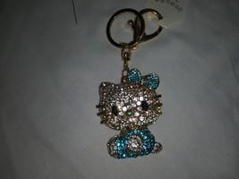 Crystal 3D hello kitty keychain-Blue - $11.00