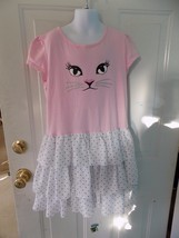 The Children's Place Cat Face Animal Print Pink W/Polka Dots Dress Size ... - $14.82