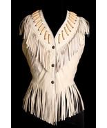 QASTAN Women's Bone White/Brown/Black/ Fringe Suede / Cow-Leather Vest W... - $99.00+