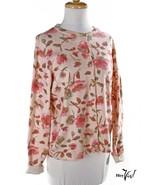 Rose Print Cardigan Sweater - Victoria Jones - Button Up Cotton Blend M ... - $24.00