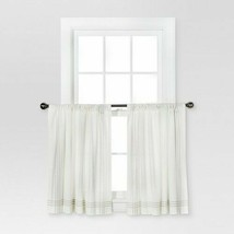 "36""x42"" Stiped Border Curtain Tiers Cream/Gray - Threshold - $16.69"