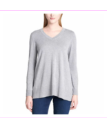 Lots of 3 DKNY Jeans Ladies V-Neck Long Sleeve Soft Pullover Ht Gray Swe... - $34.08