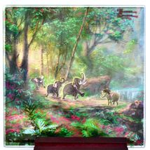 Thomas Kinkade The Jungle Book Prints 4 Piece Fused Glass Coaster Set w Holder image 5