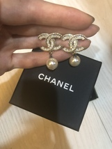 Auth Chanel Quilted CC Chain Drop Dangle Earrings Gold image 4