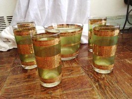 5 Green & Gold Midcentury Glasses and Ice Bucket - $59.00