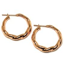 """18K ROSE GOLD EARRINGS, HOOPS, CIRCLE DIAMETER 26 MM, 1.0"""", BRAID, TWISTED image 1"""