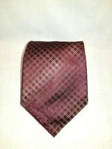 Kenneth Cole Reaction Burgundy Striped Geometric 100% Silk Men's Tie / Necktie  - $15.95