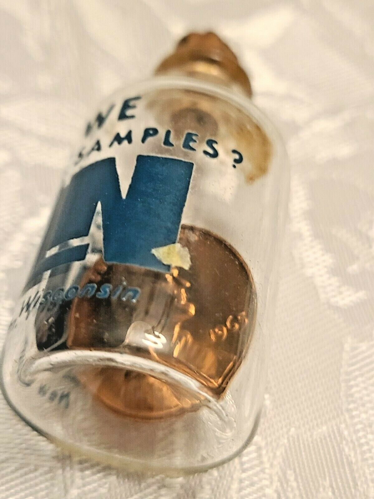 """1965 COPPER LINCOLN PENNY IN GLASS BOTTLE   """"WHO SAYS WE DONT GIVE OUT SAMPLES"""""""