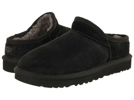 Womens Ugg Australia Classic Slippres Uggs Shearling Leather Black House Shoes 9 - $83.77