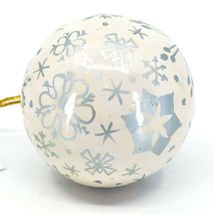 Asha Handicrafts Painted Papier-Mâché Silver Snowflakes Christmas Ornament image 5