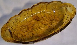Indiana Glass Amber Lily Pons Pickle Relish Dish Handled Oval Bowl - $14.03